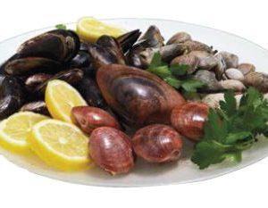 Tris di frutti di mare